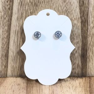 """1/4"""" CZ and silver stud earring"""